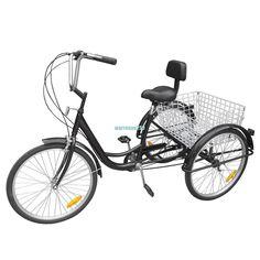 Black 3-Wheel 6-Speed Adult 24 Tricycle  Bike Bicycle Trike Cruise W/ Basket