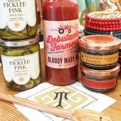 No Sunday brunch is complete without a stocked Bloody Mary bar! Our bar cart essentials include @debutantefarmer Bloody Mary mix and the best @pickledpinkfoods spicy okra! Happy brunching! #tfssi #stsimonsisland #seaisland #sunday #brunch #bloodymary #stockedbar #weekend #entertaining #cocktails #monogram