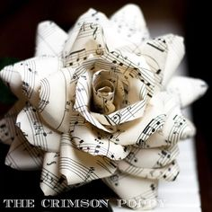I want these kinds of paper flowers for my wedding Paper Flower Centerpieces, Paper Flowers Wedding, Wedding Centerpieces, Wedding Bouquets, Sheet Music Wedding, Sheet Music Crafts, Facebook Art, Painted Mason Jars, Vintage Sheets