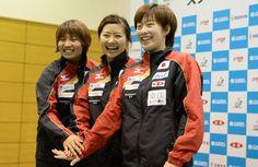 Sayaka Hirano (left), Ai Fukuhara (middle) and Kasumi Ishikawa (right) are representing hosts Japan at the Starts Women's World Cup in Kobe. Photos: ITTF.