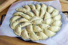 Pierogies on Baking Sheet