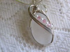Wire Wrapped Lake Erie Frosted White Beach Glass Sea Glass Pendant with Pink Crystals