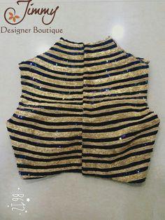 Black and golden blouse Saree Blouse Patterns, Saree Blouse Designs, Golden Blouse, Saree Jackets, Stylish Blouse Design, Embroidery Fashion, Beautiful Blouses, Durga, Cotton Blouses