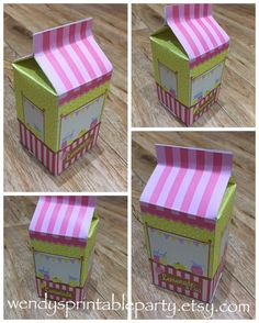 Pink Lemonade Party/Lemonade Stand Treat Box / Milk Carton Favor Box (personalized & diy) Printable by You (size and details in description) by WendysPrintableParty on Etsy