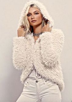 NWT-Free-People-ivory-Faux-Fur-Once-Upon-A-Hood-Fluffy-Jacket-Medium-168