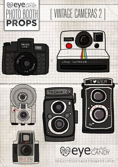 Photo Booth Props PRINTABLE PROPS- VINTAGE CAMERA SECOND EDITION