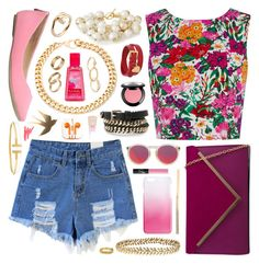 A fashion look from September 2015 featuring flower pattern shirt, distressed high waisted shorts and pink ballerina shoes. Browse and shop related looks. Summer Outfits, Girl Outfits, Casual Outfits, Fashion Outfits, Women's Fashion, Distressed High Waisted Shorts, Le Specs, Eclectic Style, My Outfit