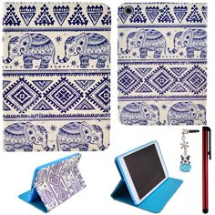 Does she love elephants? Ancerson Colorful Stylish Printed Series Integrated Ultra Slim PU Leather Protective Flip Folio Stand Case fit for Apple iPad Mini 2 Mini II,Mini 1 Mini I Free with a Red Stylus Touchscreen Pen, a 3.5mm Universal Crystal Diamond Rhinestones Bling