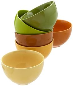 Rosanna Comfort Food Large 6-Inch Bowls, Set of 6 by Rosanna Imports, Inc. $50.00. No. Six assorted bowls in a gift box. Microwave and dishwasher safe. Rich earth tones. Material: stoneware. The deep bowls in rich earth tones provide the perfect way to eat warm meals; from the oatmeal with brown sugar to hearty chicken soup. Creadle this bowl in your hands, and feel the warmth spread through your body with that first delicious spoonful of comfort food.