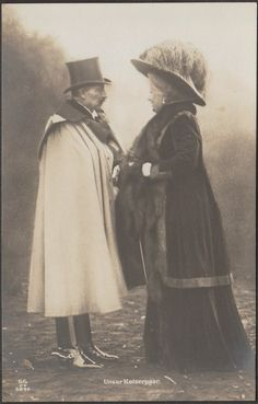 Kaiser Wilhelm II and Empress Augusta Viktoria of Prussia Princess Victoria, Queen Victoria, German Royal Family, Winter Hats, Winter Jackets, The Time Machine, History Photos, Antique Clothing, Prussia