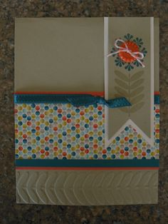 SU! 2013 Sale-A-Bration: Madison Avenue stamp set, Sycamore Street DSP; Sycamore Street Ribbon & Button pack; Vine Street embossing folder; Island Indigo, Tangerine Tango, Sahara Sand - Wendy Knowles