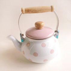 Sweet little pink little enamel teapot.