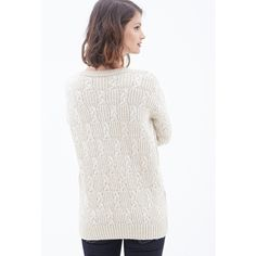 Love 21 Braided Crew Neck Sweater ($23) ❤ liked on Polyvore featuring tops, sweaters, slouchy sweater, button down sweater, button up sweater, white tops and white crew neck sweater