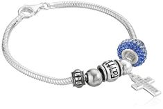 """Sterling Silver """"With Faith All Things Are Possible"""" Bead Bracelet, 7.5"""". Sterling silver snake-chain bracelet featuring polished """"Faith"""" bead, blue crystal charm, and cubic zirconia-studded cross. Lobster-claw clasp. Imported. Crafted in .925 Sterling Silver."""