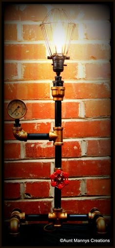 Handmade Industrial Steampunk Lamp Light by auntmannyscreations