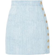 Balmain Button-detailed denim mini skirt ($790) ❤ liked on Polyvore featuring skirts, mini skirts, saias, bottoms, faldas, light denim, button skirt, short skirts, button-front denim skirts and denim skirt