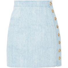 Balmain Button-detailed denim mini skirt (€760) ❤ liked on Polyvore featuring skirts, mini skirts, bottoms, saias, button skirt, balmain skirt, blue skirt, short mini skirts and short blue skirt