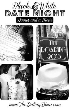 This Black and White Roaring 20's dinner and a movie party is full of fabulous free printables and a ton of swanky ideas to make your party the cat's pajamas! www.TheDatingDivas.com #dinnerandamovie #freeprintables #blackandwhite