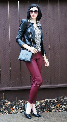 Voila Meghan: Leather blazer, H burgundy leather pants, Chanel bag