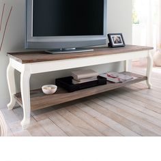 """Wooden TV Stand """"Country"""" with Shelf White / Brown Television Table Sideboard Shabby Chic Sideboard, White Sideboard, Country Look, Tv Media Stands, Wooden Tv Stands, Wood Furniture, Furniture Ideas, Sweet Home, Shelves"""