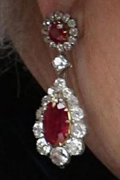 Queen Victoria's Ruby and Diamond Earrings - originally  opals surrounded by diamonds - replaced with rubies
