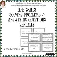 This is a set of 180 game or task cards for verbal problem solving; an important life and language skill for individuals with developmental and language disorders. This resource provides an opportunity to practice solving problems, discussing with teachers, group home staff, and even parents what to say and how to act.