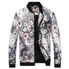 2fb3091db31 Chinese style plum flower bomber jacket for men full of plant leaves floral  pattern Lightweight Bomber