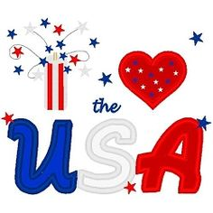 Love USA Applique - 3 Sizes! | Words and Phrases | Machine Embroidery Designs | SWAKembroidery.com Band to Bow