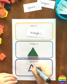 Say It Make It Write It For Maths - how to use this FREE printable to learn about 2D shape | you clever monkey