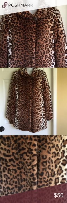 Brand new DENNIS BASSO  faux fur jacket. Brand new animal print faux fur jacket. The silica gel packets still in the pockets! Lol Dennis Basso Jackets & Coats