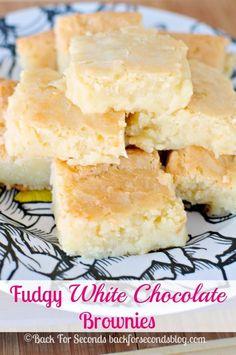 White Chocolate Brownies - INCREDIBLE! http://backforsecondsblog.com #whitechocolate #blondies #brownierecipe