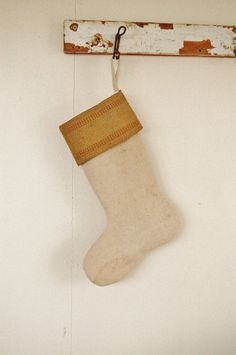 Christmas Stocking- Vintage Grain Sack & BROWN Jute Webbing -Feedsack Holiday Sock. $42.00, via Etsy.
