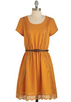 Be Marigold Dress - Yellow, Solid, Crochet, Casual, A-line, Short Sleeves, Better, Scoop, Fall, Woven, Belted, Mid-length