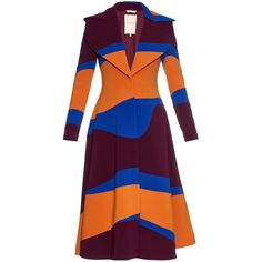Roksanda Camber tri-colour panelled coat ($2,705) ❤ liked on Polyvore featuring outerwear, coats, roksanda, colorful coat, long sleeve coat, calf length coat and striped coat