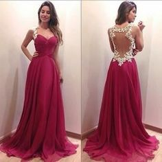 A-line Sweetheart Prom Dress, Red Chiffon Prom Dress, Lace Long Prom Dress, See Through Back Evening Prom Dress Dresses Elegant, Simple Dresses, Pretty Dresses, Beautiful Dresses, Formal Dresses, Dresses Dresses, Formal Prom, Long Dresses, Chiffon Dresses