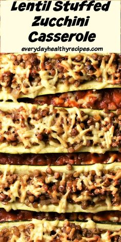 This Mediterranean inspired vegetarian stuffed zucchini casserole with green lentils comes with a simple, delicious tomato sauce and makes a great family dinner, side dish or pot luck recipe. #zucchinirecipe #stuffedzucchini #vealthycasserole #vegetariancasserole #everydayhealthyrecipes Vegetarian Casserole, Healthy Casserole Recipes, Zucchini Casserole, Vegetarian Meal Prep, Easy Delicious Recipes, Potluck Recipes, Fall Recipes, Delicious Desserts, Vegetarian Recipes