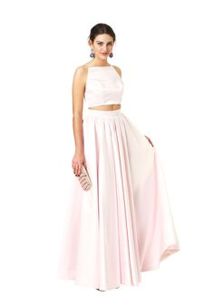 Two piece, full skirt and crop top set Pale Pink Kat - Fame & Partners - Killer Formal Dresses, Evening Gowns, Prom Dresses, Bridesmaid Dresses