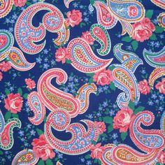 Vintage English Rose Cotton Paisley Print