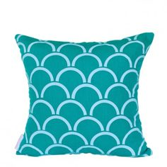 Arches cushion cover - Aqua ink on Jade green