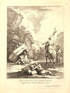 Hieron on horseback, holding a standard, on the right, reaches out with one arm towards Archimedes, who sits in a barren landscape, in the shade of a rock, with an open book of diagrams propped on his knees and turns to the king, reaching out with one arm in answer; a family sitting against the rock in the background to right, a woman holding a baby standing near the king, a scholar lying in the foreground, looking up from a book of diagrams; after Ricci.  Etching