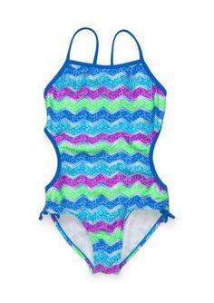 Angel Beach  Cracked Foil Chevron Swimsuit Girls 7-16