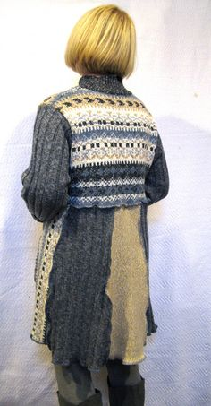 Sweater Tunic Gray Blue Tan Medium Large by maisestudio on Etsy, $137.00
