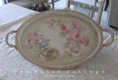 Shabby beautiful! My Vintage Bluebird and Roses Tray now available at www.debicoules.com