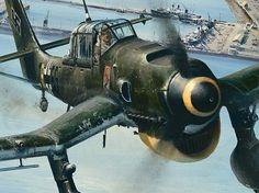 Ju 87 - used in the earlier coastal phase of the battle, but withdrawn after heavy losses. Ww2 Aircraft, Fighter Aircraft, Military Aircraft, Fighter Jets, Luftwaffe, Afrika Corps, German Soldiers Ww2, Aircraft Painting, Airplane Art