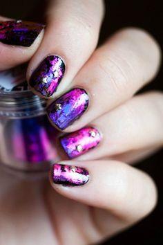 Foil nail art. Love this!!! <3