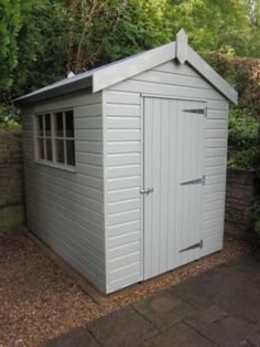 Classic Shed with Georgian Windows Our customer in Barrow-in-Furness chose one of our Classic Garden Sheds for her small urban garden. She was looking for a small storage shed to store tools and garden equipment over the winter months and opted for a 10 x 8 garden shed, finished in vintage Ivory Valtti paint to contrast with the heavy duty roofing felt.