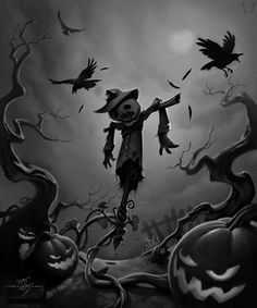 Scary Scarecrow In Field Painting Artist Martin Davey  Scareyass