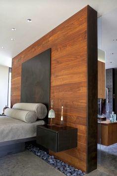 Wood wall in a bedroom