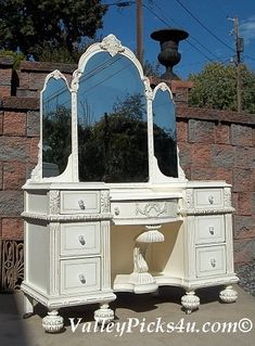 OMG Shabby White CHIC VANITY Dressing Table w Tiara Mirror Recycle Upcycle by picks4u