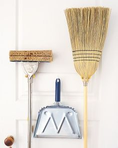 """Many people store mops and brooms by standing them in a corner, but this can cause broom straw to bend and mop heads to mildew. Using tool hooks (sold at hardware stores), hang them with their """"business ends"""" up. Deep Cleaning Tips, Household Cleaning Tips, House Cleaning Tips, Diy Cleaning Products, Cleaning Solutions, Spring Cleaning, Cleaning Hacks, Cleaning Supplies, Floor Cleaning"""